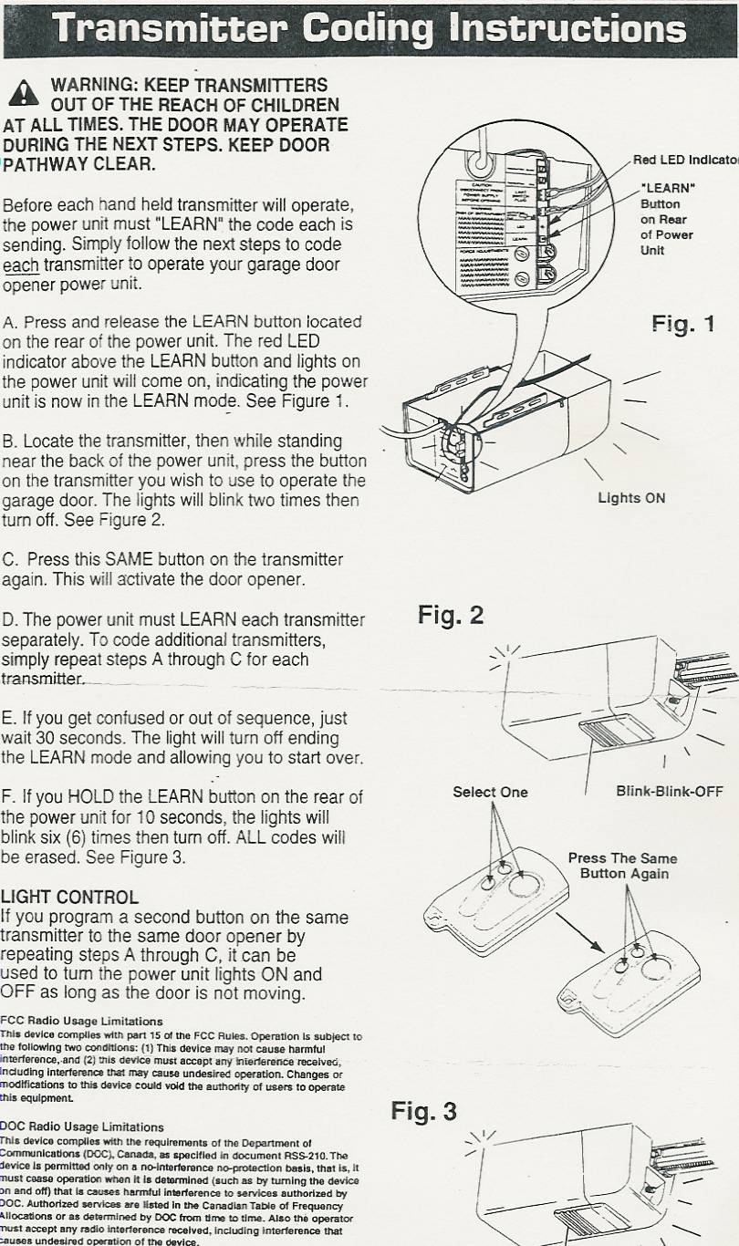 Stanley Compatible Garage Door Opener Parts Programming